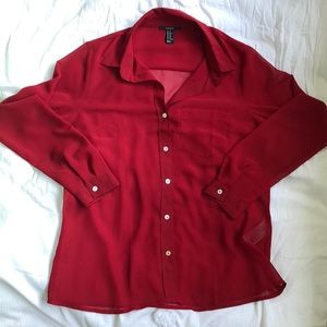 Forever 21 See through long sleeve red button down